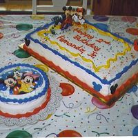 Mickey Cakes Both cakes are choc. with banana & custard filling. Made these for my grandson's 2nd birthday.