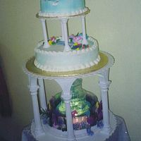 Dolphin Cake This was for my granddaughter's 7th birthday. Top cake was fresh strawberries w/ whip cream and the bottom cake was fresh banana w/...