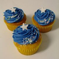 "Austin's Shooting Stars ok...last minute cupcakes for Austin to take to school....I heard him say ""I wish I would've said yes, to taking cupcakes not..."