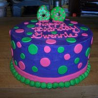 60Th Birthday Cake Bright purple, pink, and green 60th birthday cake.