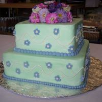Tiered Birthday Cake Tiered Birthday Cake made from strawberry cake, vanilla buttercream in spring colors.