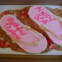 Flip Flops White almond sour cream cake. Made a template from a new pair of size 9 flip flops and then traced onto a 11x15 cake. Used the cake that...