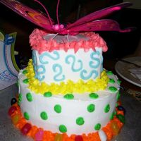 Birthday Butterfly Tierd Cake i made this for my moms 52nd birthday.