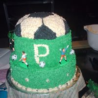 "Soccer Banquet This cake was done for a high school soccer banquet. 10"" french-coconut with pineapple filling, 8"" chocolate with oreo filling..."