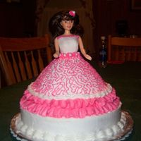 Birthday Doll Cake  I made this for my little girls birthday this past July. It was alot of fun to make. The Dress was a yellow cake and the 10 inch base that...