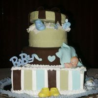 Babyshower Cake This cake was yellow cake with BC filling because the mom was very picky. Covered the first layer with BC with fondant ascents. Second and...