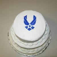 Air Force Stacked mini-tiers with buttercream and blue fondant.