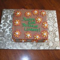 Lindsey's Cake This was for my friend Lindsey's 30th birthday...yes I had 3 firends turning 30 on the same day!!). Anyway, her's is chocolate...