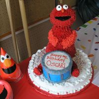 Elmo this was for my son' Oscar's 2nd birthday. He loves elmo...but by the time this cake was finished...mommy wasn't a fan :)...