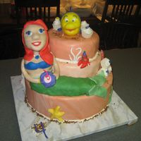 "Ariel And Flounder This was today's cake for my daughter's 4th birthday. We even had the ""real"" Ariel there. :)"