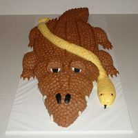 Alligator With Snake  This cake was requested to be all chocolate and to look as real as possible. The little boy had real animals at his party including the...