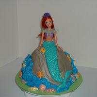 Ariel Ariel sitting on rock with water splashing around the rock. Decorated with candy fish and seashells.