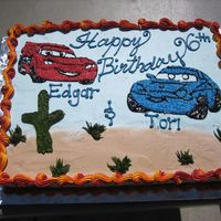 Cars Couple Birthday Cake Lighting and Sally celebrating!!! 3/4 Sheet of white with Frosting Pride VAnilla icing. Images were from a coloring page with, transfered...