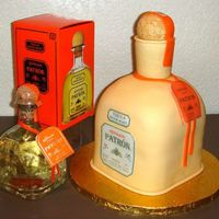 Patron Tequila This 3D carved cake was created to celebrate the birthday of a guy who loves Patron tequila. With edible images, fondant accents and a...
