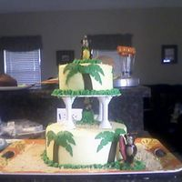 Taite's Monkey Cake White cake with yellow Buttercream, palm trees are fondant and grass is buttercream. the monkeys are candles. Sand is gram crackers crushed...