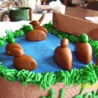 Duck Pond buttercream icing with fondant ducks