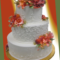 Tt's Wedding Cakes 27 Buttercream Icing, free hand scroll work, gumpaste flowers