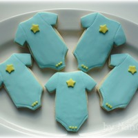 Baby Boy Onesie Cookies! I made these for a co-worker's baby shower. NFSC with fondant decorations. Thanks CCer's for inspiration. Enjoy!