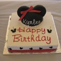 Minnie Mouse   Mouse ears made from rkt covered in fondant