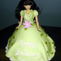 Christmas Eve Doll Cake Front View   Fondant dress with BC accents. Pearl dust on collar and bow. Front view