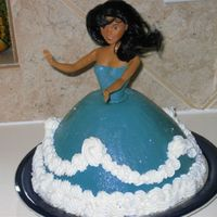 Doll Chocolate cake, blue fondant.