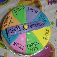 "Wheel Of ""age"" Cake I got this idea from the Wilton site...just changed it slightly. Chocolate buttercream with MMF ""paint drops"" along the sides...."