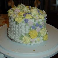 Wilton 2 Final Cake - Lots Of Flowers! I decided to use as many of the flowers as I could! This cake was fun!