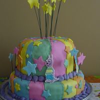 Backyardigans Tiered Cake My first attempt at a bit of a whimsy cake style (not off-center looking, but deco). I wanted it to match the napkins and party decorations...