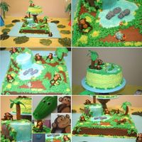 Monkey Cake I made this cake for my son's 5th birthday. ALL the animals weremade by my good friend and cc memeber ilena.