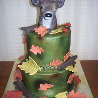 Deer Buttercream WASC, airbrushed, gumpaste leaves, also airbrushed, modeling chocolate sticks. The topper is a hitch cover from Bass Pro Shop!...