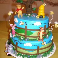 Pooh And Friends Bc covered cakes with fondant details. Characters are plastic...tree, bees and bee hive are made from fondant