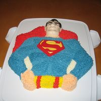 Superman White enhanced cake with butter cream frosting
