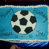 Soccer Ball I made this cake for my friends sons. It was 1/2 choc&1/2 white.