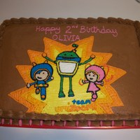 Team Umizoomi 1/4 sheet yellow cake chocolate buttercream.