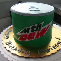 "Mt. Dew 6"" three layer white cake."