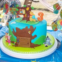 Winnie The Pooh Birthday bc with fondant accents , plastic topper and friends