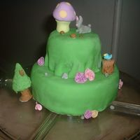 Woodland My first all fondant decorated cake. Cinnamon vanilla cake, buttercream underneath the fondant. I was happy even if my bunny looks like a...
