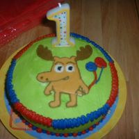 Moose From Noggin My son's first birthday cake. Strawberry cake with bananna flavored buttercream. This was also my first BCT. Moose from Noggin