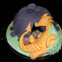 "Sleepy Dragon I made this cake for my fathers birthday. I was inspired by Debbie Browns ""Enchanted Cakes for Children"". It wasn´t..."