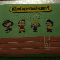 Kids Decathlon I donated this cake at the kids decathlon where my nieces took part in. It's an Italian Wedding cake covered in MMF, children and logo...