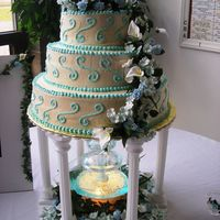 Blue And Ivory Fountain Cake