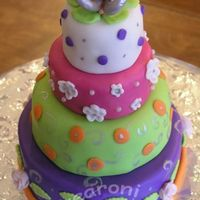 Multi Tier Mini Cake fondant over dummy....pastilage stylized 'butterfly' topper