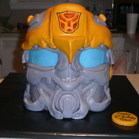 Transformer Cake-Bumblebee's Helmet I have to thank JackiesCreations for helping me with this cake!!! Her cake was my inspiration!!! I wish I had more time to put into the...