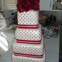 Swiss Dot 4 Tier Square Wedding Cake