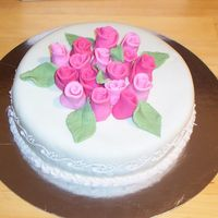 Top View Of Roses Cake