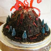 Volcano Made by 5 yr old boy! big ol' chocolate cake! covered in choc. frosting & cookie crumbs...store bought trees and red sugar lava...