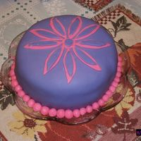 First Fondant This is my first attempt at fondant. Its a simple white cake with buttercream frosting tinted pink, purple fondant top with a pink and...
