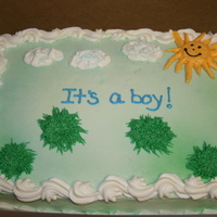 Baby Shower Cake Customer had the little animal figures that would be placed on the grassy areas!