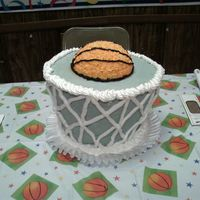 "Basketball Cake I made this cake for my nephew's 18th birthday. It was made with a 8"", 10"", and a 12"" round cake pans and 1/2 of the..."