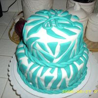 Turquoise Zebra Print First time stacking a cake..and using MMF.For my BFF's 22nd birthday had a little trouble with the fondant drying out.